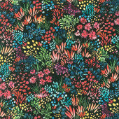 Moody Bloom - Meadow Black Digitally Printed Yardage