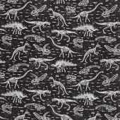 Novelty - Dinosaur Skeletons Black Glow in the Dark Yardage