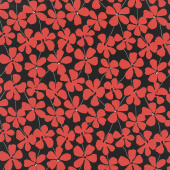 Red Alert - Floral Allover Black Yardage
