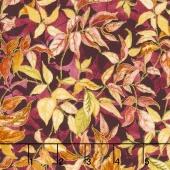 Autumn Air - Rustling Leaves Mulberry Metallic Yardage