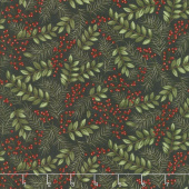 Winter Manor - Winter Greens Ebony Yardage