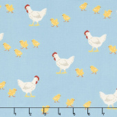 What do the Animals Say? - Chickens Blue Yardage