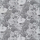 "Wilmington Essentials - Floral Toile Black and White 108"" Wide Backing"