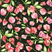 Sweet Pea - Sweet Pea Floral Black Flannel Yardage