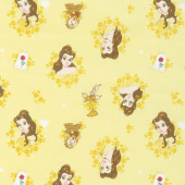 Disney Forever Princess - Belle in Wreaths in Light Yellow Yardage