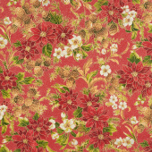 Poinsettias and Pine Metallic - Crimson Yardage