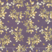 Tell the Bees - Bee Blossom Aubergine Yardage