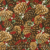 Let It Sparkle - Pretty Pine Cones Radiant Berry with Red Glitter Yardage