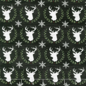 Hearthside Holiday - Laurel Deer Charcoal Black Yardage