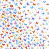 Kaleidoscope - Butterflies in Flight Ivory Yardage