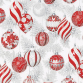 Holiday Flourish 11 - Silver Ornaments Silver Metallic Yardage