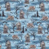 Harvest Moon - Spooky Scenic Dusty Blue Yardage