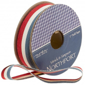 "Northport Twill Trim - 1"" Red/Ivory/Navy"
