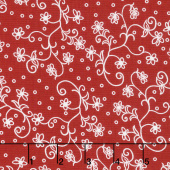Scarlet Romance - Viney Small Floral White on Red Yardage