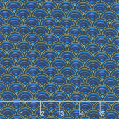 Regency - Elegant Scalloped Pattern Indigo Metallic Yardage