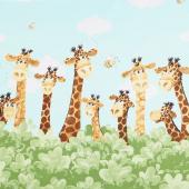 Zoe the Giraffe - Giraffe Border Print Aqua Yardage