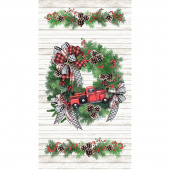 I'll be Home for Christmas -  Red Truck Christmas Wreath Multi Panel