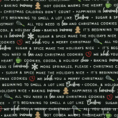 We Whisk You A Merry Christmas - Holiday Baking Phrases Black Yardage