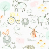 "Cuddle Prints - E-I-E-I-O Seaspray 60"" Minky Yardage"