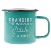 Changing the World, A Stitch at a Time - Enamel Mug