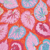 Kaffe Fassett Collective - Stash Scarlet Florals Big Leaf Pink Yardage