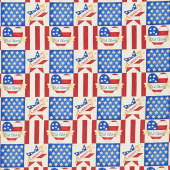 Land of the Free - Small Blocks Cream Yardage