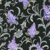 Lilacs in Bloom - Lilac Vine Scroll Black Yardage