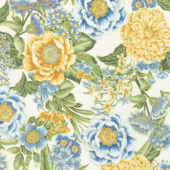 Avery Hill - Blue Flowers Ivory Metallic Yardage