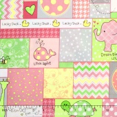 Little One Flannel Too ! - Allover Patch Pink Yardage