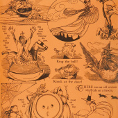 Goosetales - Tall Tales Motifs Orange Yardage