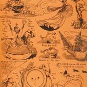 Goosetales - Tall Tales Motifs Orange Yardage