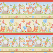 Gnome is Where Your Garden Grows - Gnomes Novelty Stripe Multi Yardage