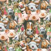 Farm Selfies - Farm Packed Animals Green Yardage