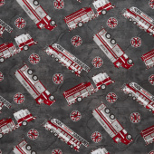 Thin Red Line - Fire Engines Charcoal Yardage
