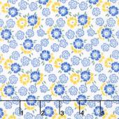 Sunshine Garden - Flowers Blue Yardage