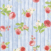Farmhouse Rose - Wood Blue Yardage