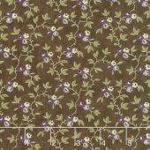 Clover Meadow - Vines & Flowers Earth Brown Yardage