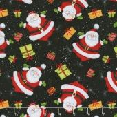 Jolly Ole' St. Nick - Tossed Santas Black Yardage