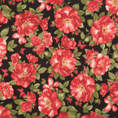 Garden Rose - Large Red Roses and Butterflies Black Yardage