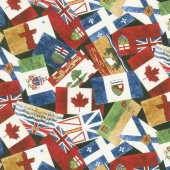 Canadian Classics - Provincial Flags Black Digitally Printed Yardage