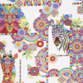 Safari, So Goodie - Animals and Medallions White Yardage