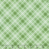Hi - de - Ho! - Diagonal Plaid Green Yardage