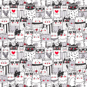 Cats - Packed Outline Cats White Yardage