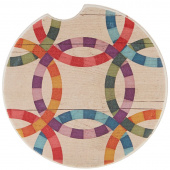 Quilt Car Coaster - Double Wedding Ring