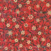 Artisan Batiks - Northwoods 6 Poinsettias Holiday Metallic Yardage