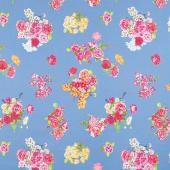 Floralish - Cascading Blossoms Blue Yardage