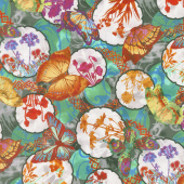 Dreamscapes II - Collage Teal/Multi Digitally Printed Yardage