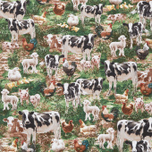 Farm Life - Allover Farm Animals Multi Yardage