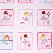 Bella-rina - Ballet Girls in Boxes Pink/White Yardage