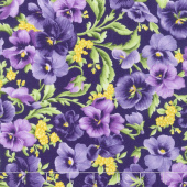 Emma's Garden - Packed Pansies Dark Purple Yardage